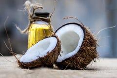 Noce di cocco & olio di cocco fotografia stock