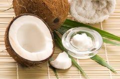 Noce di cocco, olio e foglia di palma. scena esotica Immagine Stock Libera da Diritti