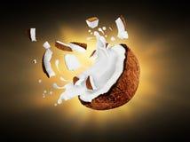 Noce di cocco rotta con la spruzzata del latte nello scuro Fotografia Stock Libera da Diritti