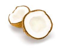 Noce di cocco su bianco Immagine Stock Libera da Diritti