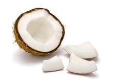 Noce di cocco su bianco Fotografie Stock Libere da Diritti