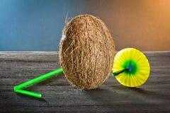 Noce di cocco su legno immagine stock