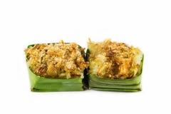 Noce di cocco sull'alimento delizioso del riso appiccicoso Fotografia Stock