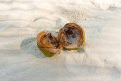 Noce di cocco sulla spiaggia, divisa in due metà Fotografia Stock