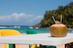 Noce di cocco sulla tavola Immagini Stock Libere da Diritti