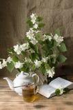 Noch Leben Blumenstrauß des blühenden Jasmins Lizenzfreies Stockfoto