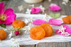 Noch Leben 1 Getrocknete Aprikosen und rosafarbene Blumenblätter Lizenzfreie Stockfotos