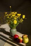 Noch Leben mit Äpfeln und Blumenstrauß Stockbild