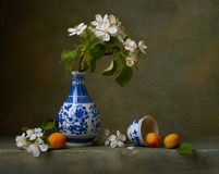 Noch Leben mit Blumen des Apfels Lizenzfreies Stockfoto
