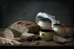 Noch Leben mit Brot Stockbilder