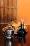 Noch Leben mit Brot, Kaffeenationalstandard-Zucker Lizenzfreies Stockbild