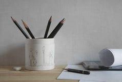Noch Leben mit einem Bleistift Stockfoto