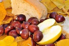 Noch Leben mit Kastanien, Apfel und Brot Lizenzfreie Stockfotografie