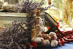 noch Leben mit Lavendel Lizenzfreie Stockbilder