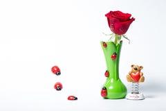 Noch Leben mit Rose Stockbild