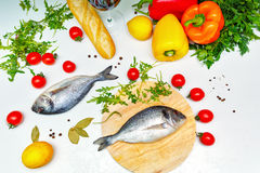 Noch Leben 1 Nahrung Gemüse, Brot und Fische Lizenzfreies Stockbild