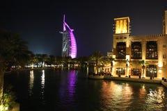 Noche árabe Burj Al Arab Imágenes de archivo libres de regalías