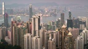 Noche al timelapse del día de Hong Kong almacen de video