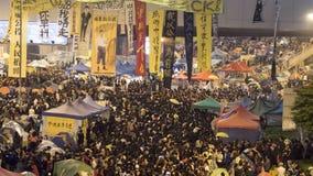 Noche antes de la liquidación en la revolución del paraguas - el Ministerio de marina, Hong Kong Imagenes de archivo