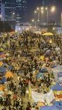 Noche antes de la liquidación en la revolución del paraguas - el Ministerio de marina, Hong Kong Foto de archivo libre de regalías
