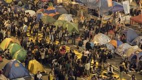 Noche antes de la liquidación en la revolución del paraguas - el Ministerio de marina, Hong Kong Fotografía de archivo libre de regalías