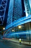 Noche azul de la ciudad del tono en central, Hong-Kong Fotografía de archivo libre de regalías
