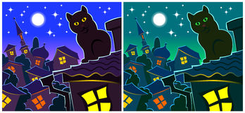 Noche azul, gato, tejado,  Imagenes de archivo
