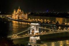 Noche Budapest Fotos de archivo libres de regalías