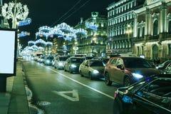 Noche, calle, tráfico, luces Fotos de archivo libres de regalías