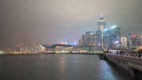 Noche central y occidental de Hong-Kong del distrito en Año Nuevo chino Imágenes de archivo libres de regalías