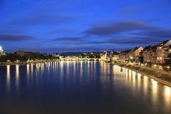 Noche de Basilea, Suiza Foto de archivo libre de regalías