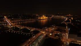 Noche de Budapest de la visión aérea metrajes