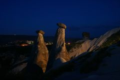 Noche de Caappadoccia fotografía de archivo libre de regalías
