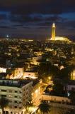 Noche de Casablanca Marruecos de la mezquita de Hassan II Imagen de archivo