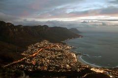 Noche de Ciudad del Cabo Fotografía de archivo libre de regalías