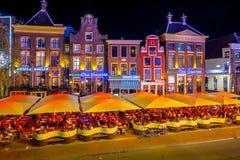 Noche de Grote Markt Groninga de los cafés Foto de archivo libre de regalías