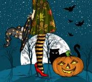 Noche de Halloween Bruja con el sombrero del mago a disposición, el gato negro y la calabaza, luna grande en fondo fotografía de archivo libre de regalías