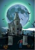 Noche de Halloween: castillo hermoso de la luna, zombi del castillo francés Imagen de archivo libre de regalías