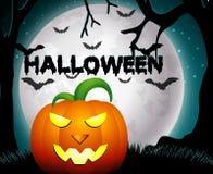 Noche de Halloween con las calabazas Fotos de archivo