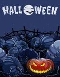Noche de Halloween de la historieta en un campo con las calabazas Imagen de archivo