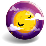 Noche de Halloween en insignia redonda Imagen de archivo