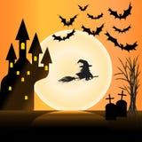 Noche de Halloween de la Luna Llena Foto de archivo
