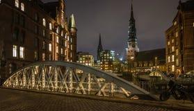 Noche de Hamburgo Imágenes de archivo libres de regalías
