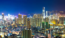 Noche de Hong Kong Foto de archivo libre de regalías