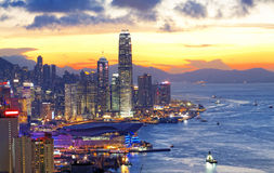Noche de Hong-Kong foto de archivo libre de regalías