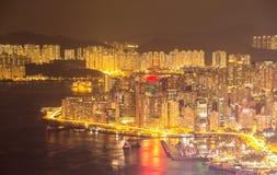 Noche de Hong Kong Skyline Imagen de archivo libre de regalías