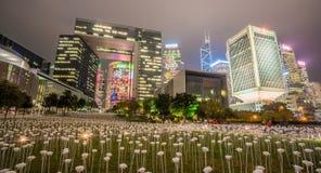 Noche de Hong-Kong Tamar Park en Año Nuevo chino Foto de archivo libre de regalías