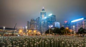 Noche de Hong-Kong Tamar Park en Año Nuevo chino Imagen de archivo libre de regalías