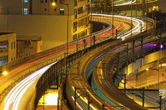 Noche de la carretera del tráfico, Hong Kong Imagen de archivo