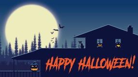 Noche de la casa de la granja de Halloween con la luna y los palos stock de ilustración